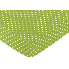 Lime and Black Spirodot Fitted Crib Sheet with Polka Dot Print