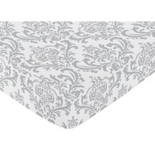 Pink and Gray Elizabeth Fitted Crib Sheet with Damask Print
