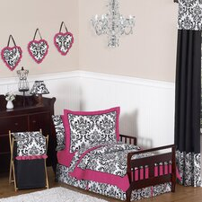Isabella Hot Pink, Black and White 5 Piece Toddler Bedding Set