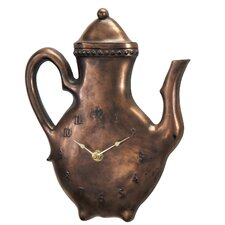 Beaded Tea Pot Clock in Antique Copper