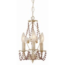 Crystal Flair 3 Light Mini Chandelier with Crystal Beads