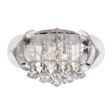 Flared Crystal 3 Light Flush Mount