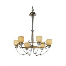 Rimini Six Upward Light Chandelier in Vintage Gold