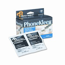 Read Right Phonekleen Wet Wipes, Cloth, 5 X 5, 18/Box