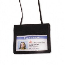 Id Badge Holder with Convention Neck Pouch, Horizontal, 4W X 2 1/4H, 12/Box