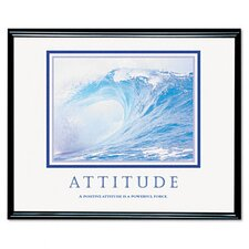 """Attitude/Waves"" Framed Motivational Print, 31-1/2w x 25-1/2h"