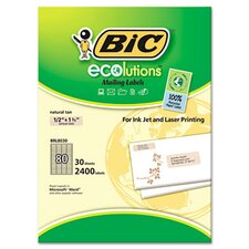 ecolutions Mailing Labels, 1/2 x 1 3/4, Natural Tan, 2400/Box