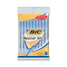 Round Stic Ballpoint Pen,Med. Point,10/PK,Blue Ink
