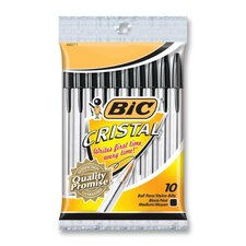 Stic Ballpoint Pen,Bold Point,10/PK,Black Ink/Clear Barrel