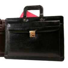 Leather Front Lockable Drop Handle Briefcase