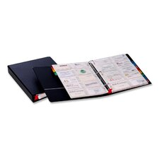 "Card File Binder, Holds 400 Cards, 1-1/2"" Capacity, Letter, Black"