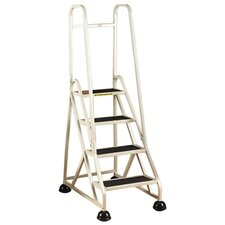 "4-Step Ladder, w/ 2 Handrails, 24-5/8""x33-1/2""x66"", Beige"