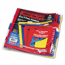 Two-In-One Colored Poly Folders with Built-In Tabs, Letter, 10/Pack