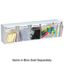 "Tilt Bins,Interlocking,5-Bins,23-5/8""x5-1/4""x6-1/2"",White"