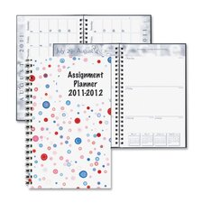 "Wirebound Student Weekly Assignment Book, 13 Mos, 5""x8"", Dots/Multi, 2013"