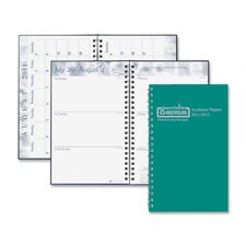"Wirebound Leatherette Weekly Planner, 13 Mos, 5""x8"", Green, 2013"