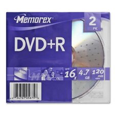 DVD+R, 16x, 4.7GB, 2 per Pack