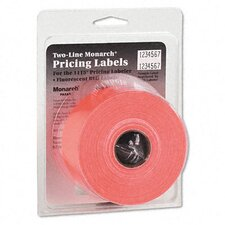 2-Line Pricemarker Removable Label, 5/8 x 3/4, Fluorescent Red, 3 Rolls Card