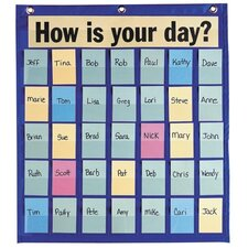 "Behavioral Pocket Chart,35 Pockets,18-1/2""x21"",Blue"