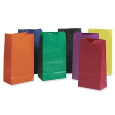 Rainbow Bags, 6# Uncoated Kraft Paper, 6 x 3-5/8 x 11, Assorted Bright, 28/pack
