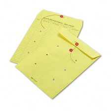 Colored Paper String & Button Interoffice Envelope, 10 x 13, Yellow, 100/carton