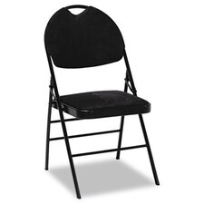 XL Series Fabric Padded Folding Chairs, Black Fabric/Black Frame, Four/Carton