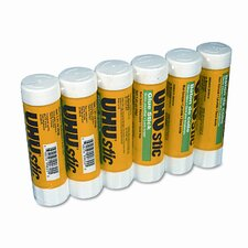 UHU Stic Permanent Clear Application Glue Stick, 1.41 oz, 6/pack