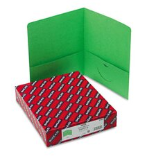 Two-Pocket Portfolio, Embossed Leather Grain Paper, 100-Sheet Capacity, Green