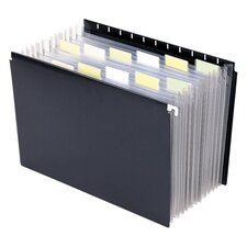 "Hanging Portable Expanding File, 11-7/8""x9-1/4"", Black"