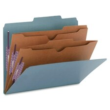 Pressboard Folders with Two Pocket Dividers, Letter, Six-Section, 10/Box