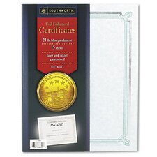 Foil-Enhanced Parchment Certificates, 15/Pack