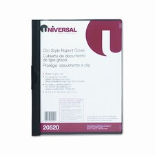 Plastic Report Cover with Clip, Letter, Holds 30 Pages, Clear/Black