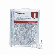 "Plastic Head Push Pins, Steel 3/8"" Point, Clear, 100 per Pack"