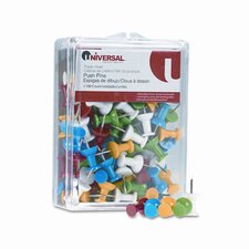 "Plastic Head Rainbow Color Push Pins, Steel 3/8"" Point, 100 per Pack"