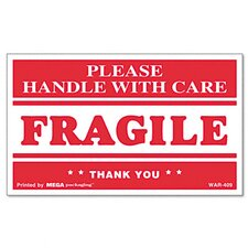 Fragile Handle with Care Self-Adhesive Shipping Labels, 500/Roll
