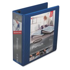 "Premium Single-Touch Locking Round Ring View Binder, 3"" Capacity, Blue"
