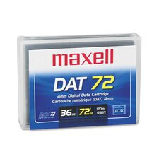 "1/8"" DAT 72 Data Cartridge, 170m, 36GB Native/72GB Compressed Data Capacity"