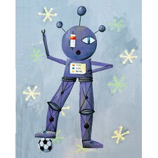 Patchwork Newton Loves Soccer Robot Canvas Print by Liz Clay