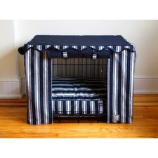 Dog Crate Cover in Nautical Stripe