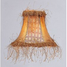 Panel Bell Clip Silk Chandelier Shade with Corn Silk Fringe in Gold
