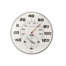"Extra Large Metal Thermometer with 18"" Clock"