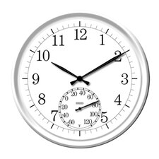 "Decorative Clock with 14"" Thermometer in White"