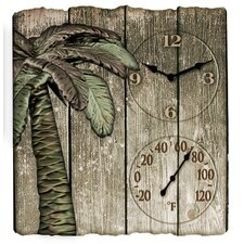 "Palm Tree Clock and 16"" Thermometer"