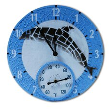 "Mosaic Dolphin Outdoor 14"" Clock/Thermometer"