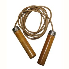 Leather Jump Rope with Wooden Handles and Bearing