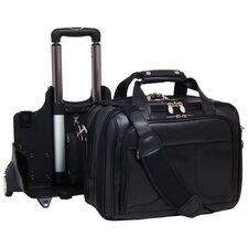 R Series Chicago Leather 2-in-1 Removable-Wheeled Laptop Overnight Bag in Black