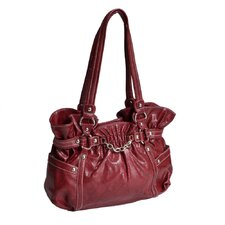 Cosmos Snakeskin Embossed Faux Leather Large Handbag