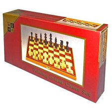 Chess Set with Folding Walnut Board Game