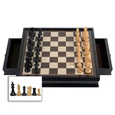 Stained Chess Set with Drawers in Black