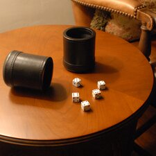 Dice Cup with 5 Dice in Mahogany